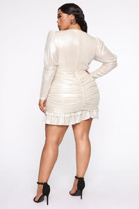 Late Date Night Ruched Mini Dress - Champagne Angle 6