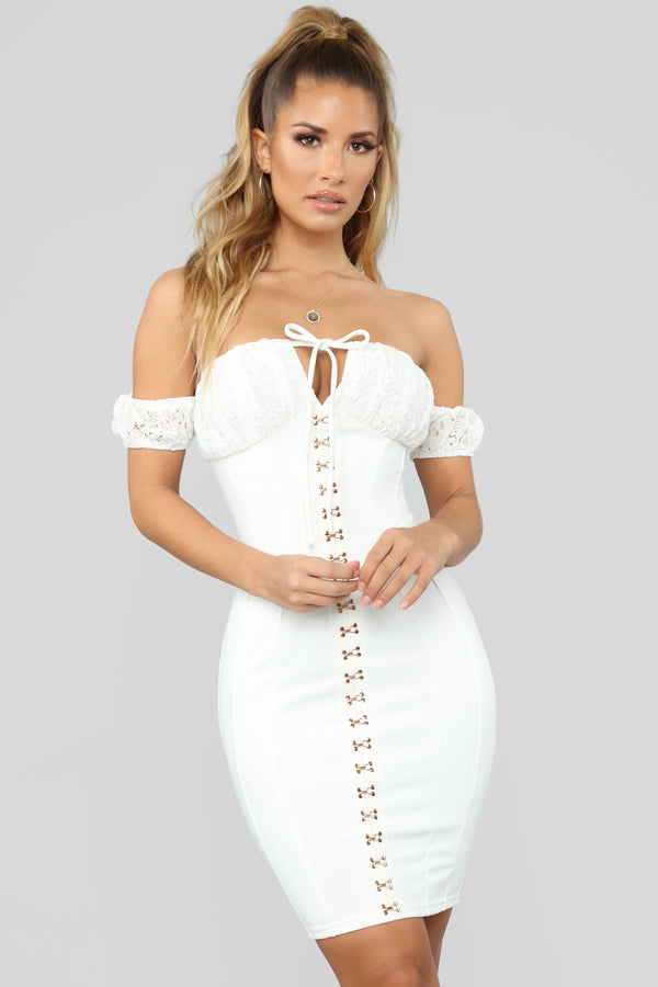 e3f22490b45 Forget To Love You Off Shoulder Mini Dress - White