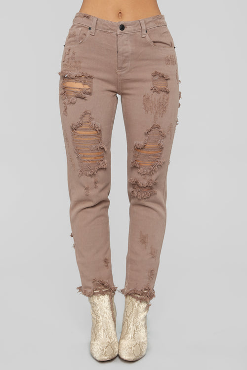 Can't Stop Me Now Distressed Boyfriend Jeans - Brown