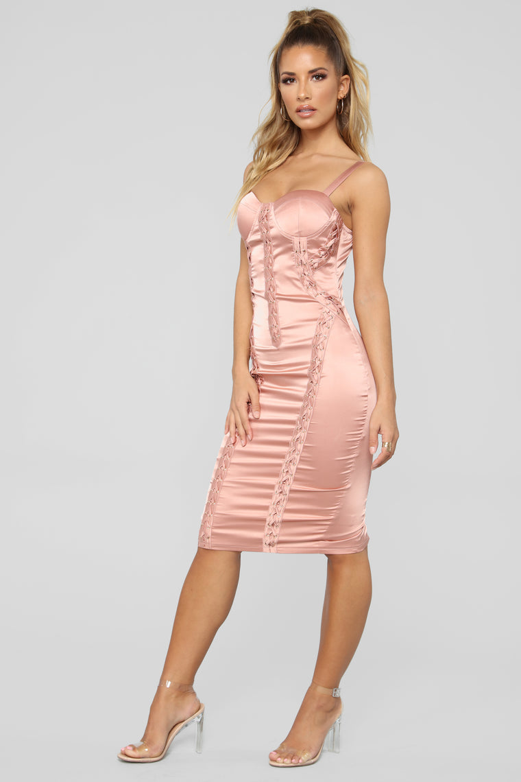 Laced In Satin Dress - Mauve