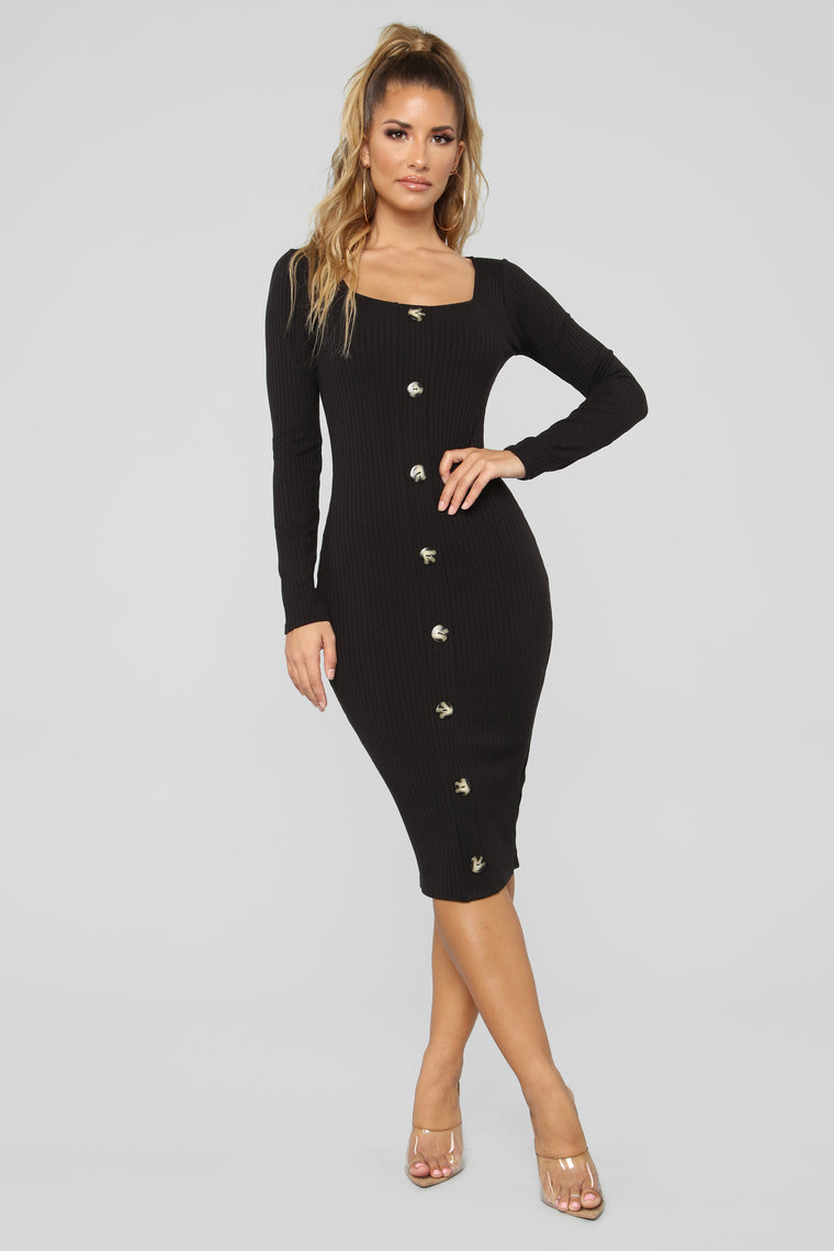 Janet Ribbed Dress - Black