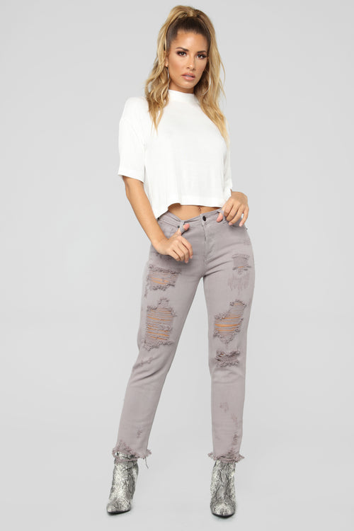 Can't Stop Me Now Distressed Boyfriend Jeans - Grey