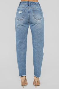 Simple Things High Rise Boyfriend Jeans - Light Blue Wash