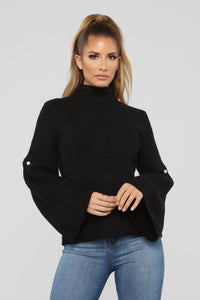 Debbie Bell Sleeve Sweater - Black