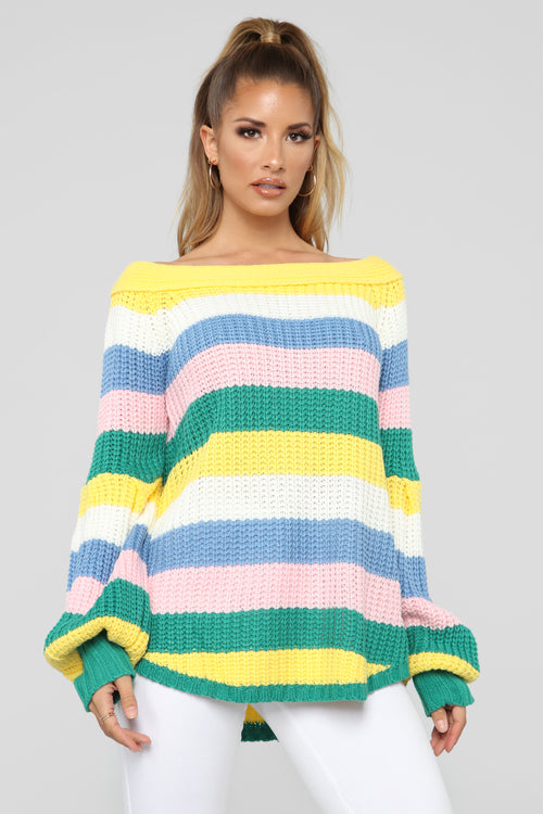 Kathy Stripe Off Shoulder Sweater - MultiColor