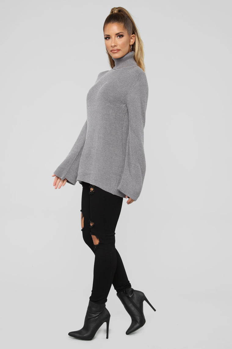 Hannah Lace Up Sweater - Grey