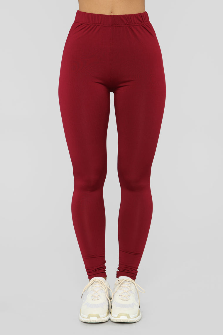 Fleece Aniversario Leggings - Burgundy