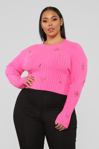 You Distress Me Out Sweater - Pink