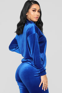 Just So Cute Velvet Capri Set - Royal