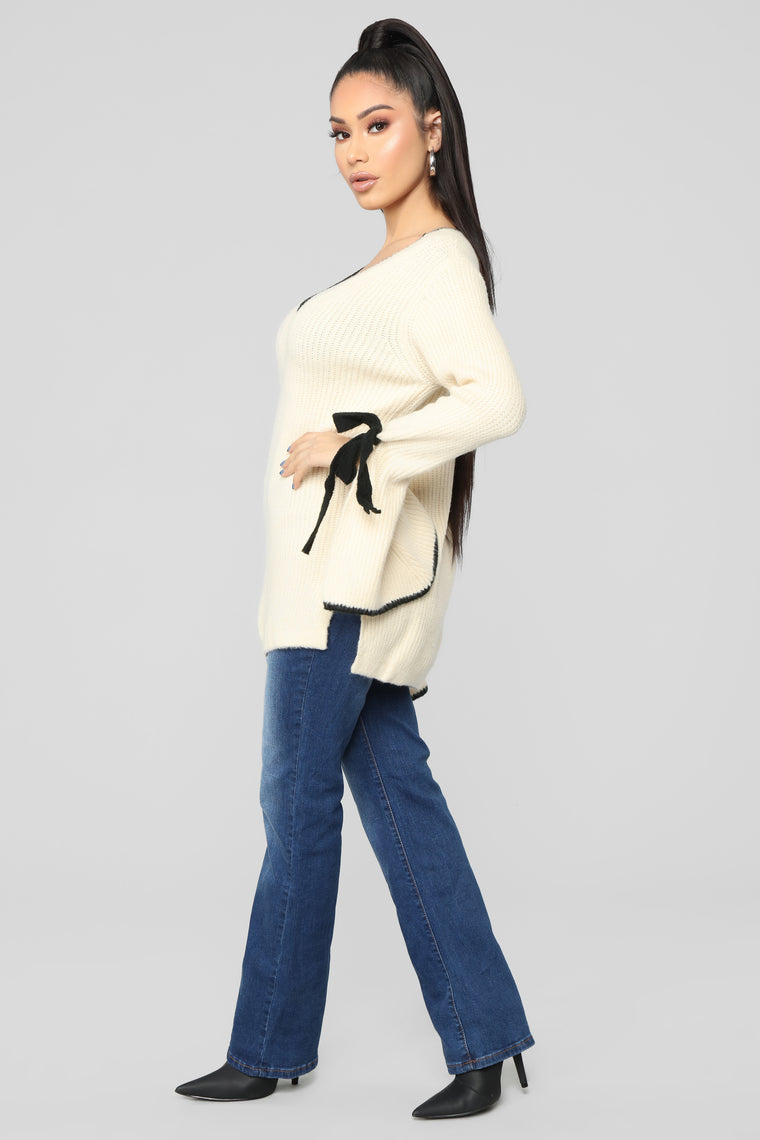 Avery Contrast Sweater - Ivory