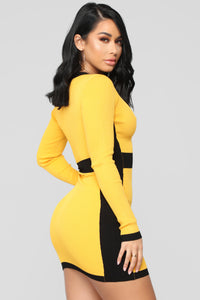 Blocking Out Haters Ribbed Mini Dress - Yellow/Combo
