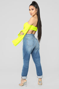 Keep Them Staring Cropped Top - Neon Yellow