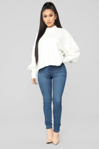Pearl Mock Neck Sweater - White