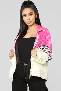 Animal Colorblock Jacket - Fuchsia