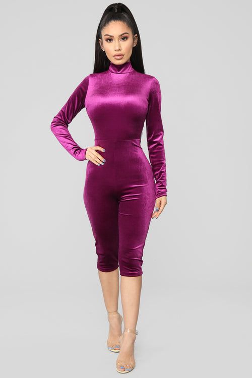 Just So Cute Velvet Carpi Jumpsuit - Purple