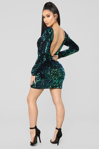 Brighten Up The Night Sequin Mini Dress - Green