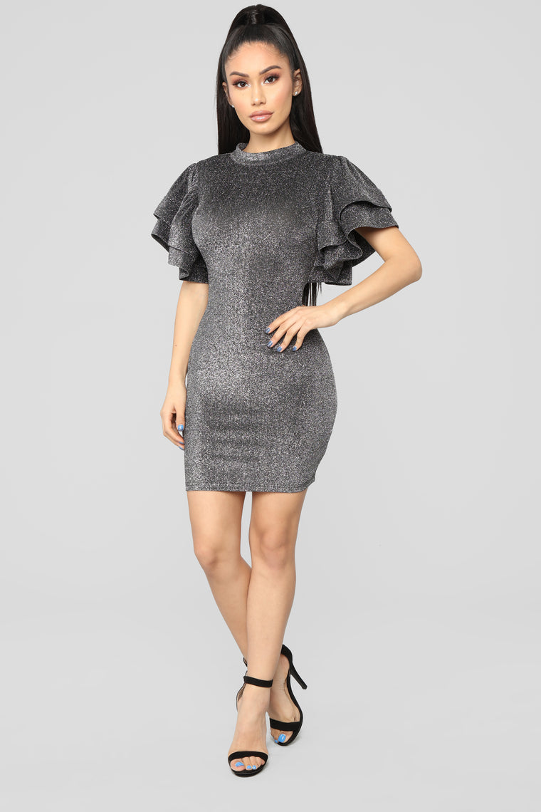 The Time Of Your Life Mini Dress - Silver