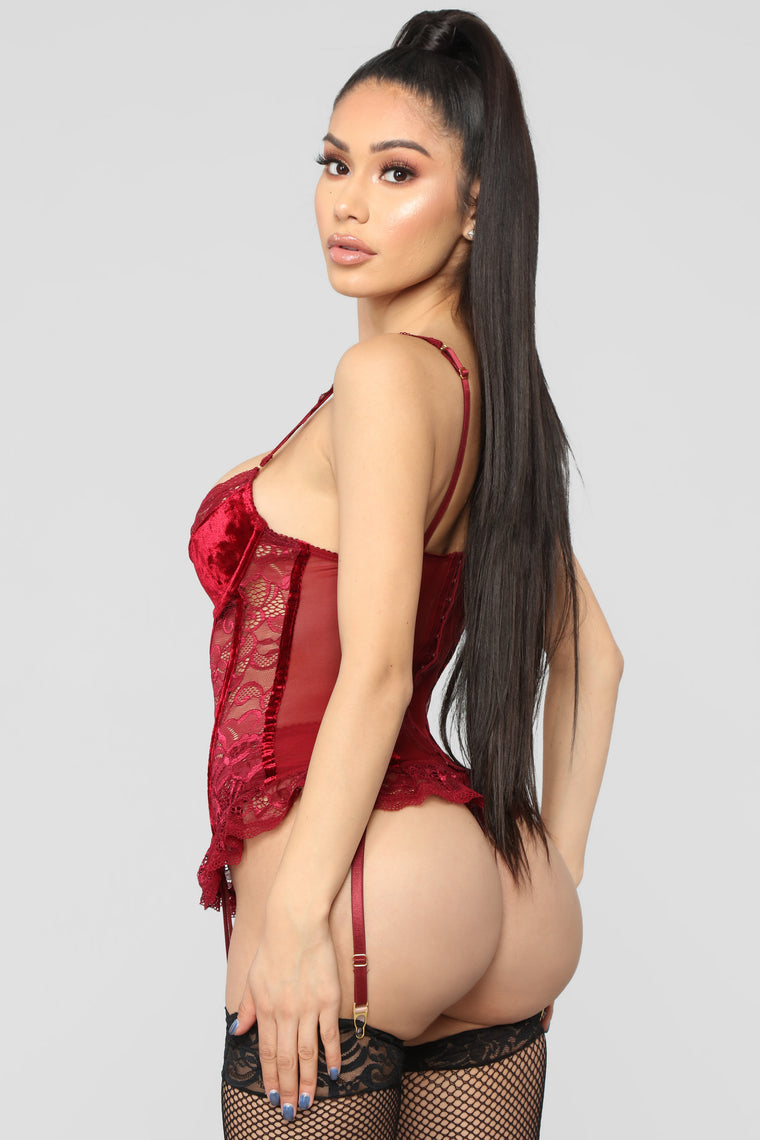 Midnight Text Bustier 2 Piece Set - Wine