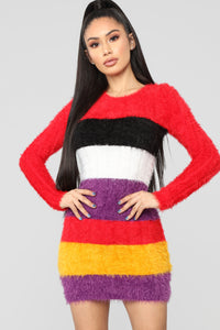 Bringing Happiness Fuzzy Multi Stripe Dress - Multi