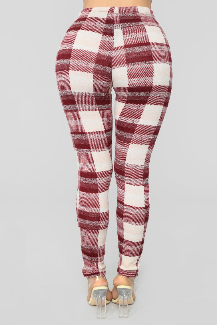 Fireplace Plaid Set - Burgundy