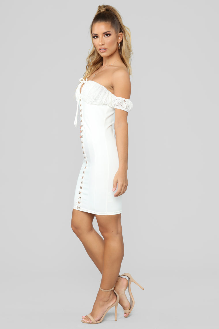 Forget To Love You Off Shoulder Mini Dress - White