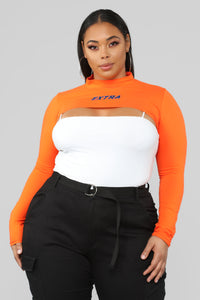 Extra Cropped Top - Orange Angle 6