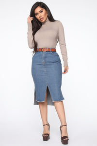On The Rise Midi Denim Skirt - Medium Wash Angle 1
