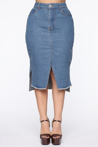 On The Rise Midi Denim Skirt - Medium Wash Angle 2