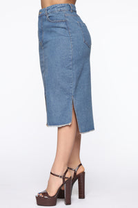 On The Rise Midi Denim Skirt - Medium Wash Angle 4