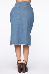 On The Rise Midi Denim Skirt - Medium Wash Angle 6