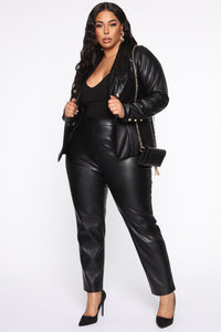 Counting Paper Faux Leather Blazer - Black Angle 7
