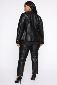 Counting Paper Faux Leather Blazer - Black Angle 9