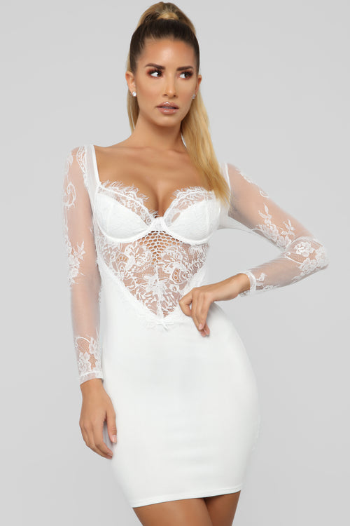 Pure Seduction Lace Mini Dress - White 21adc2359