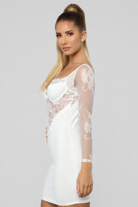 Pure Seduction Lace Mini Dress - White
