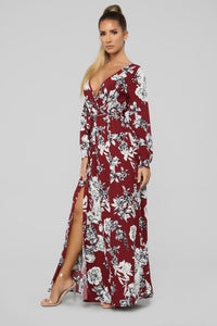 Lost In Thought Floral Wrap Dress - Burgundy