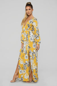 Lost In Thought Floral Wrap Dress - Yellow