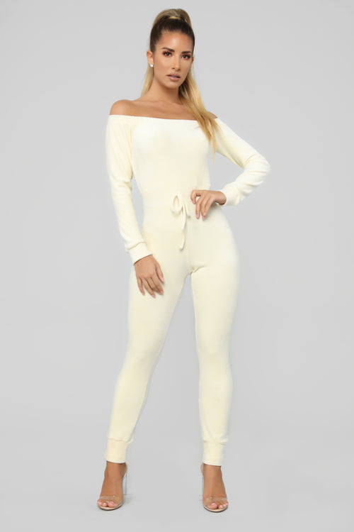 Need A Hug Velour Jumpsuit - Ivory