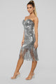 Speak Easy To Me Fringe Dress - Silver