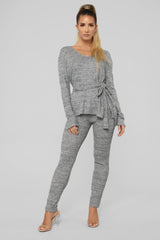 Rain Or Shine Pant Set   Heather Grey by Fashion Nova