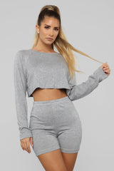 Staying Cozy Set   Heather Grey by Fashion Nova