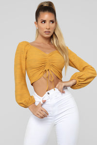 Only You Ruched Top - Mustard