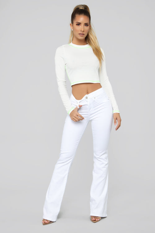 Bring It Down Flare Jeans - White