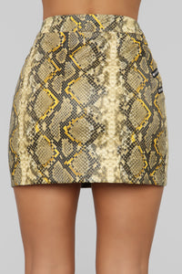 Slither Over Here Snake Print Skirt - Yellow