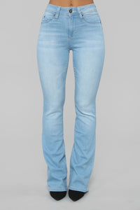 Bring It Down Flare Jeans - Light Blue Wash