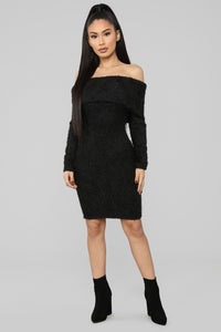 Bear Hugs Sweater Midi Dress - Black Angle 1
