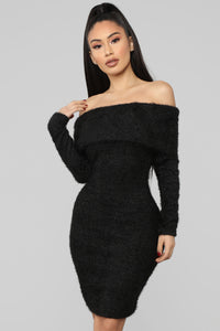 Bear Hugs Sweater Midi Dress - Black Angle 2