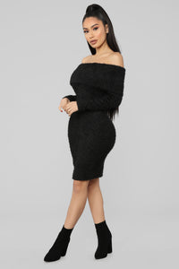 Bear Hugs Sweater Midi Dress - Black Angle 3