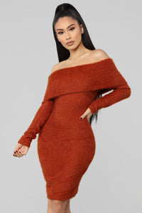 Bear Hugs Sweater Midi Dress - Rust