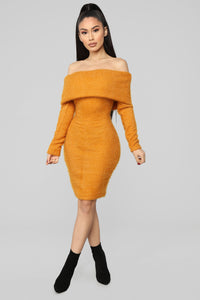 Bear Hugs Sweater Midi Dress - Mustard Angle 1