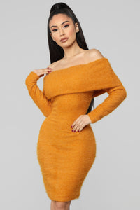 Bear Hugs Sweater Midi Dress - Mustard Angle 2